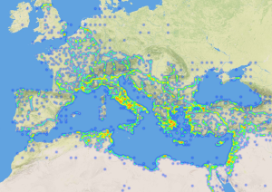 Geographic metadata from Early Geospatial Documents: mapped place references from 40 Latin documents dated between 1st and 8th century AD.  Approx. 5,000 places. Data from Pelagios, base map from the AWMC.